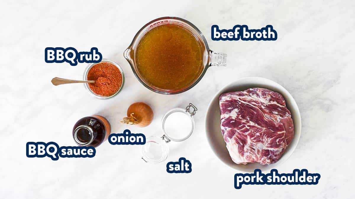 ingredients for crockpot pulled pork with labels