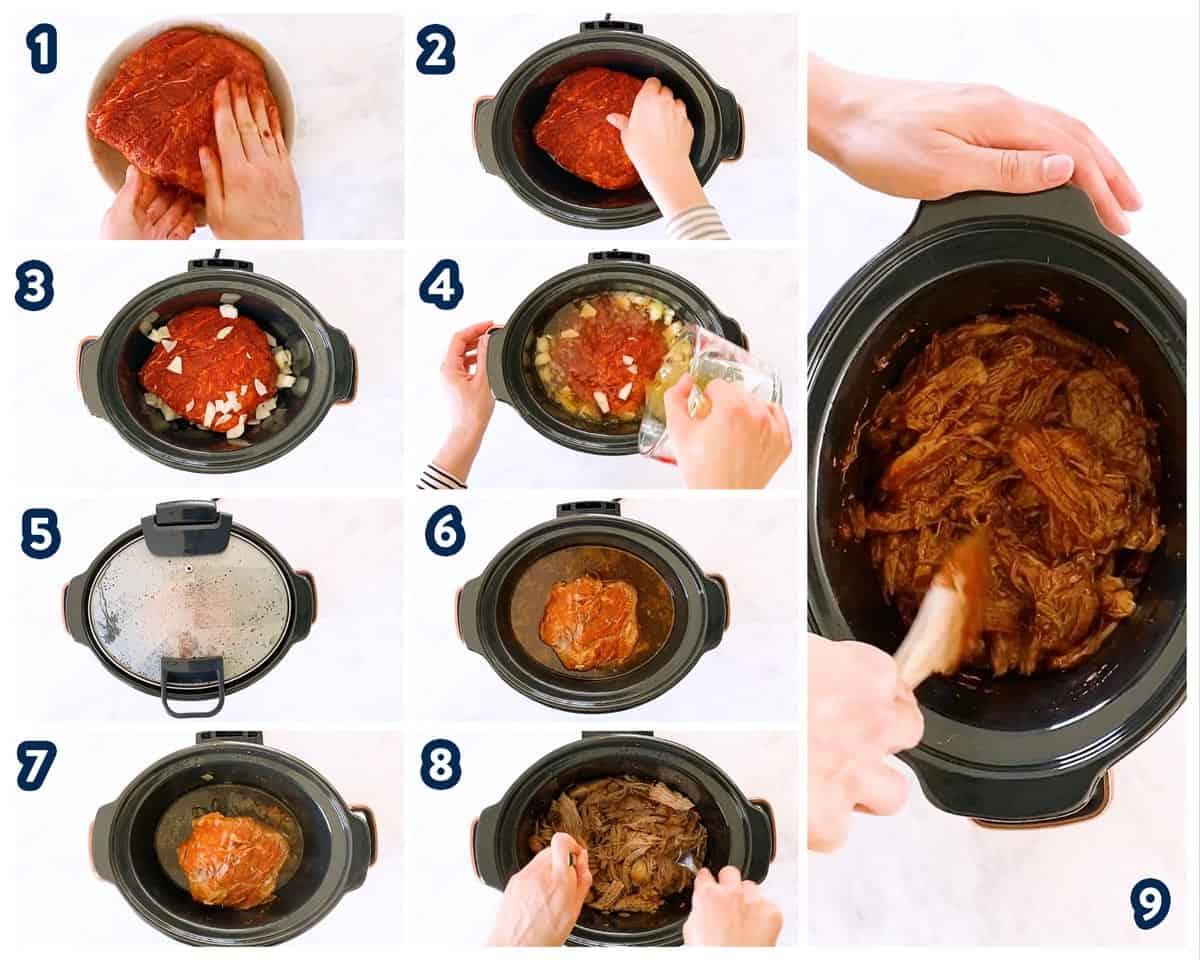 collage of steps to make crockpot pulled pork