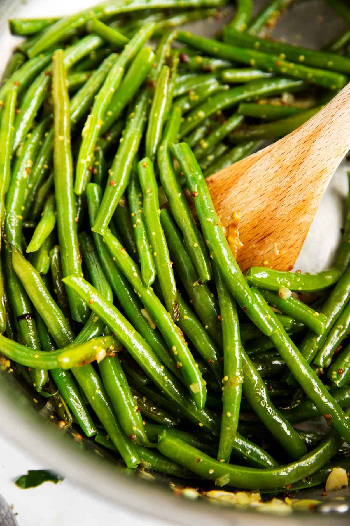 close up of sautéed green beans