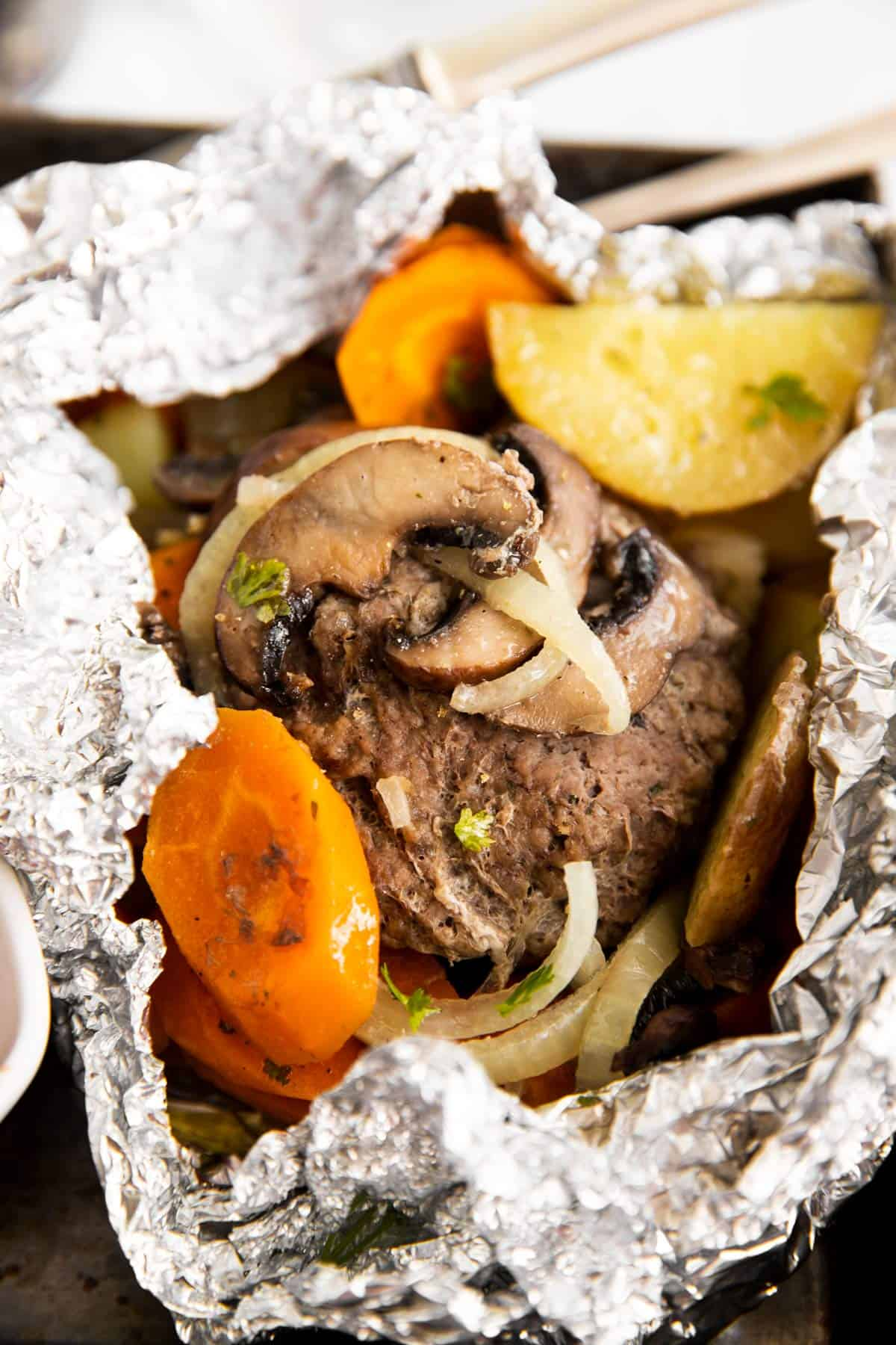 close up view of hobo dinner foil packet