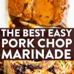 photo collage of pork chop marinade with text overlay