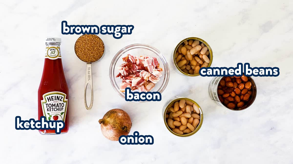 ingredients for baked beans with text labels