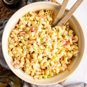 overhead view on bowl with macaroni salad