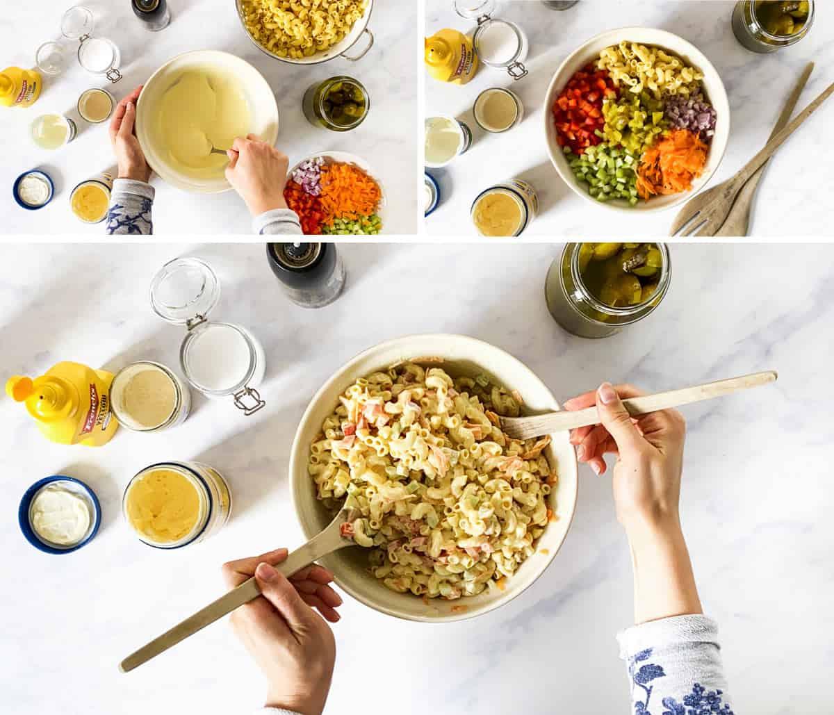 collage of steps to make macaroni salad