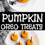These Pumpkin Decorated Oreos are incredibly easy to make with kids and look adorable for Halloween! The best part? You just need four ingredients to whip these up. | #halloween #halloweenrecipes #halloweentreats #kidfriendly