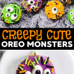 These Monster Oreos are so quick, easy and doable - the perfect Halloween Treat to make with the kids. You only need four ingredients to assemble them!   #halloween #halloweentreats #halloweenideas #halloweenrecipes