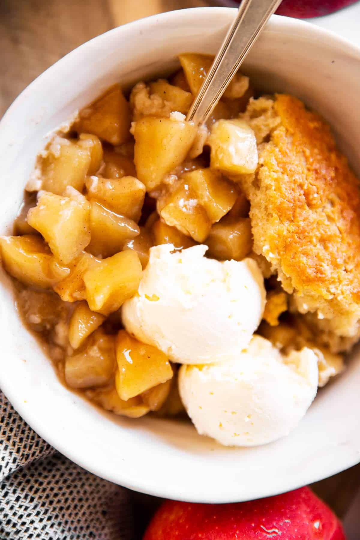 close up of apple cobbler in a bowl