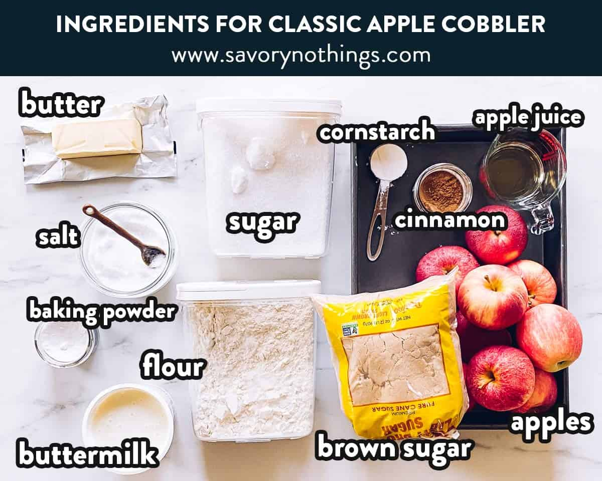 ingredients for apple cobbler with text labels