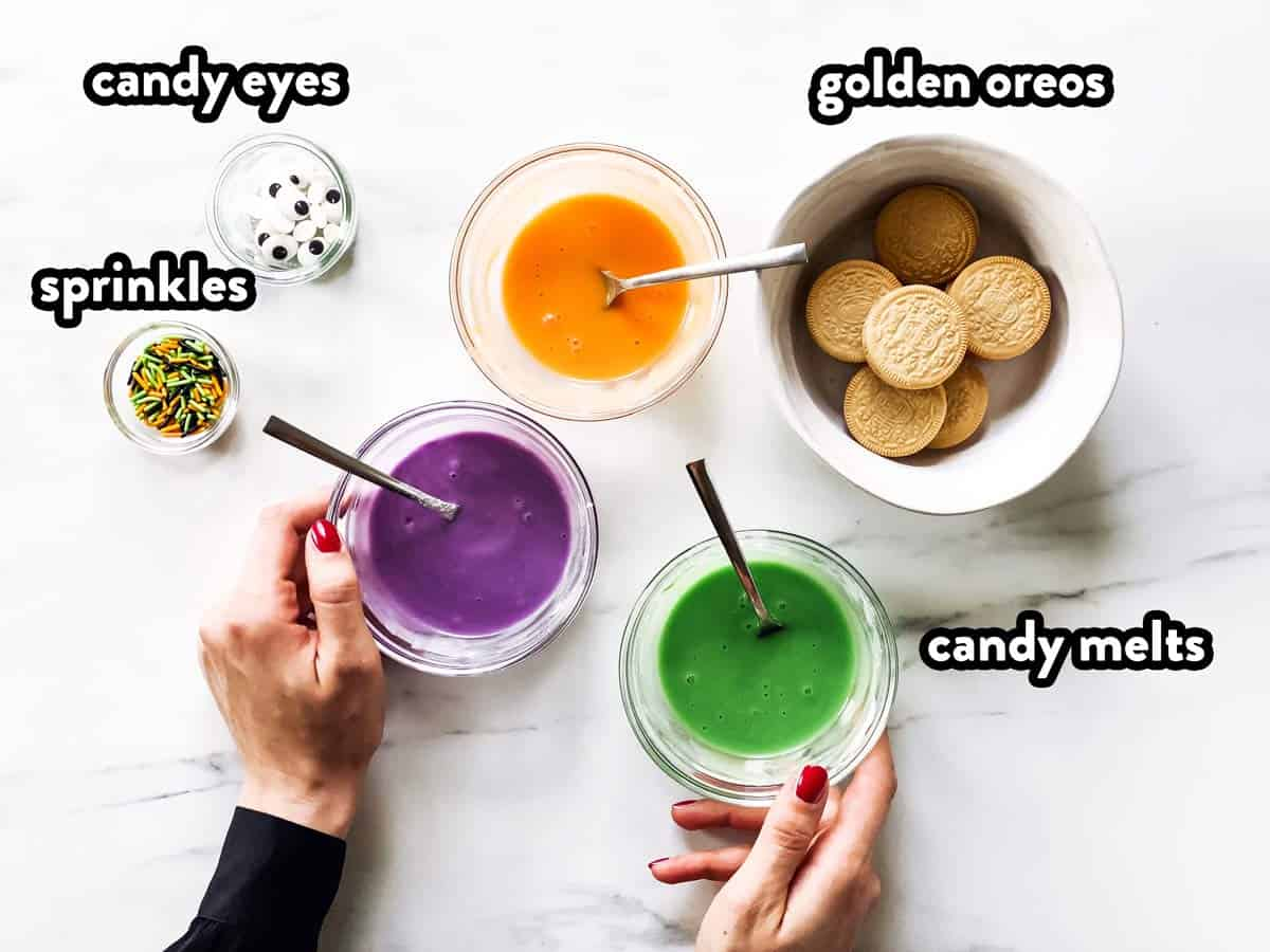 ingredients to decorate Halloween monster Oreos