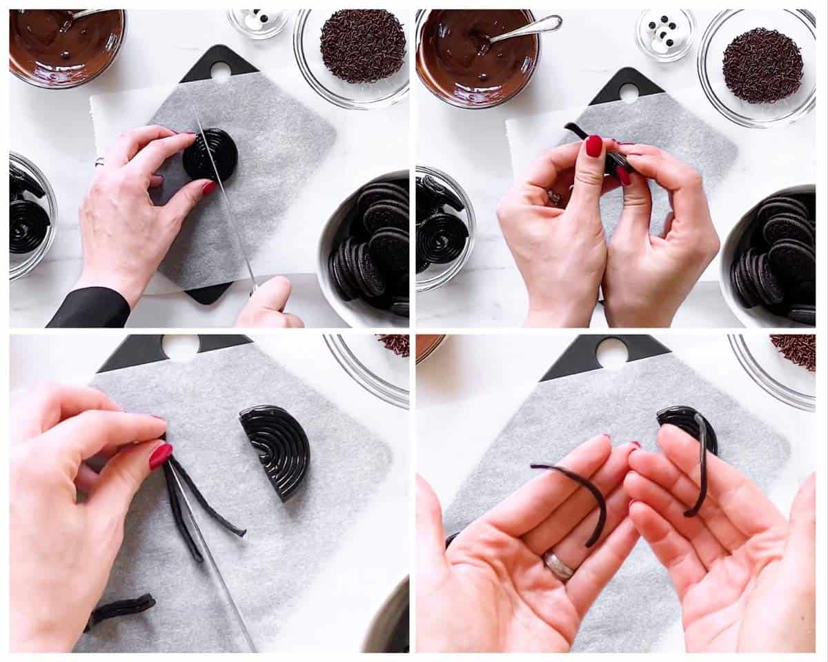 collage of steps to prepare liquorice to make Oreo Spiders