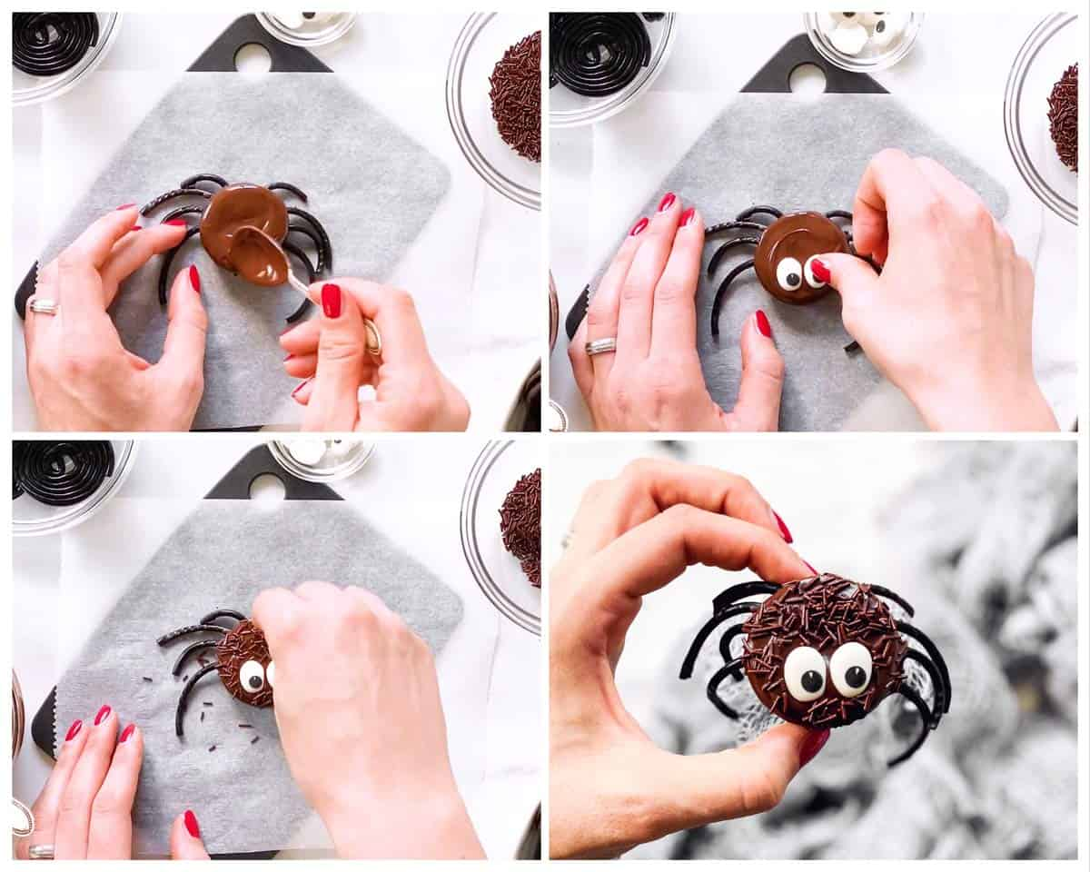 collage of steps of decorating Oreo cookies as spiders