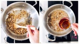 collage of images to show cooking onion gravy