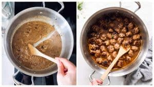 collage of images to show smothering meatballs in gravy