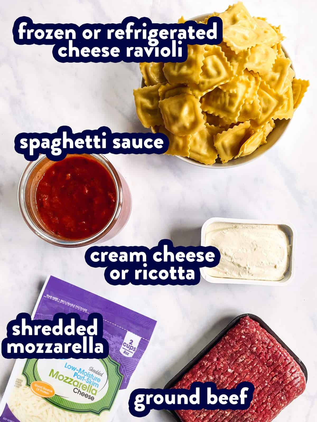 ingredients for baked ravioli with text labels