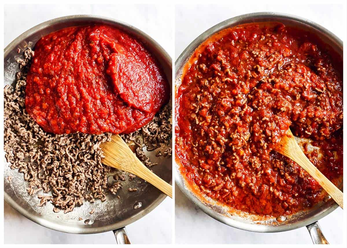 steps to show making sauce for baked ravioli