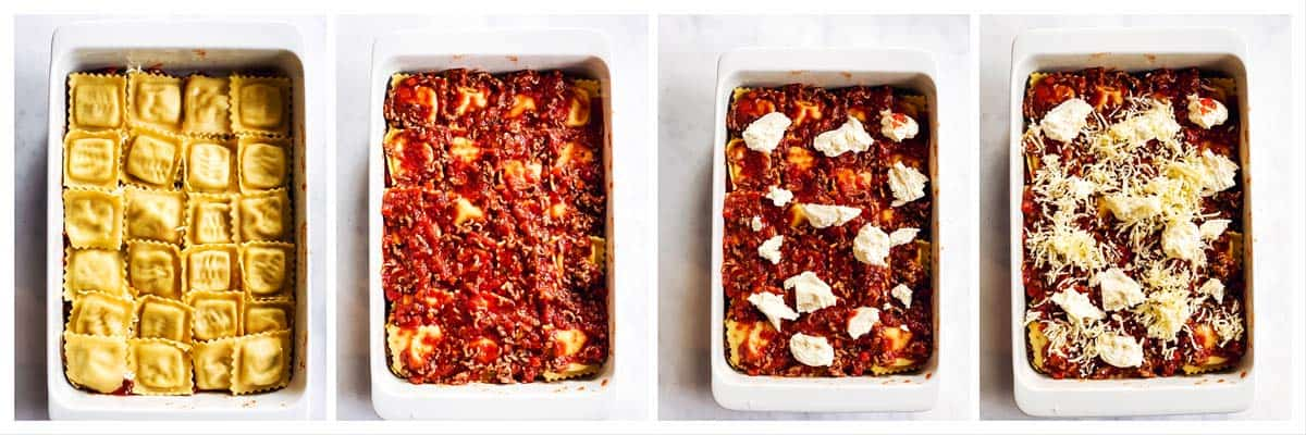 steps to show middle layer of baked ravioli