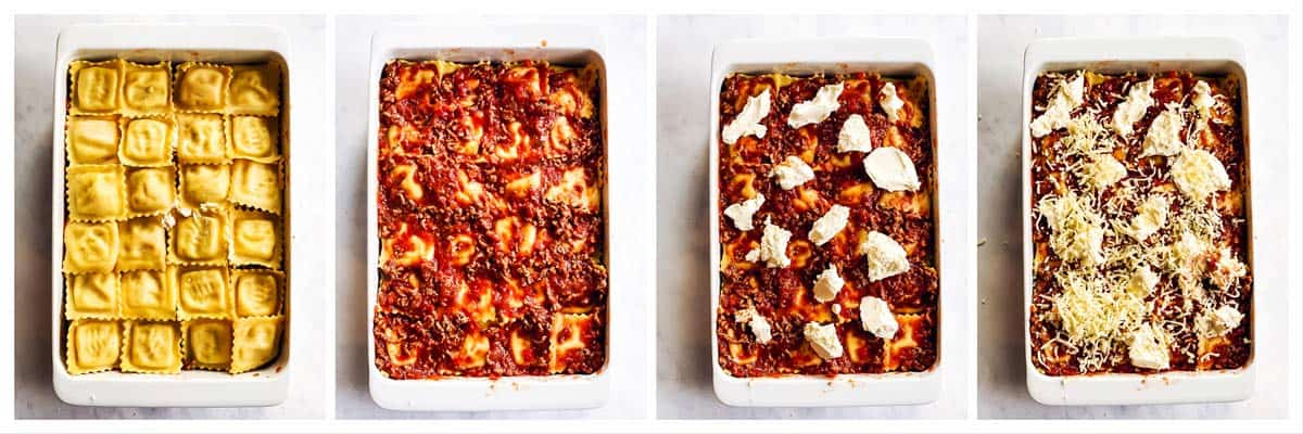 steps to show top layer of baked ravioli
