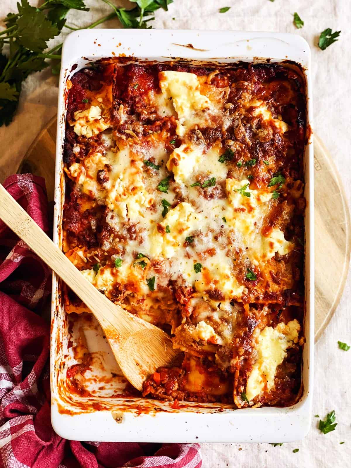 overhead view of casserole dish with baked ravioli