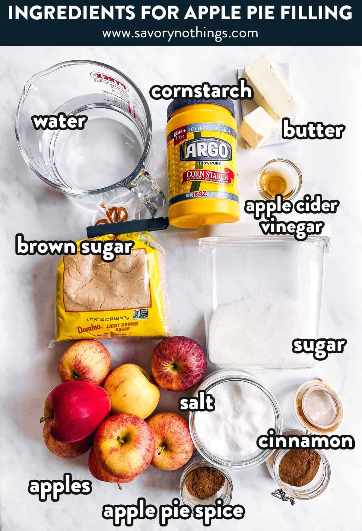 ingredients for homemade apple pie filling with text labels