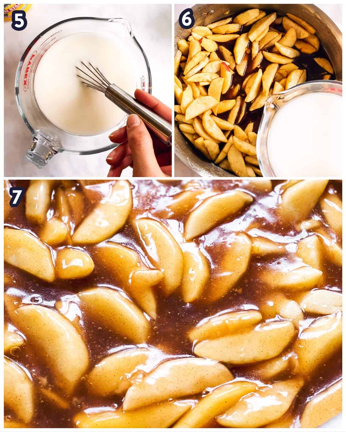 collage to show steps of thickening apple pie filling