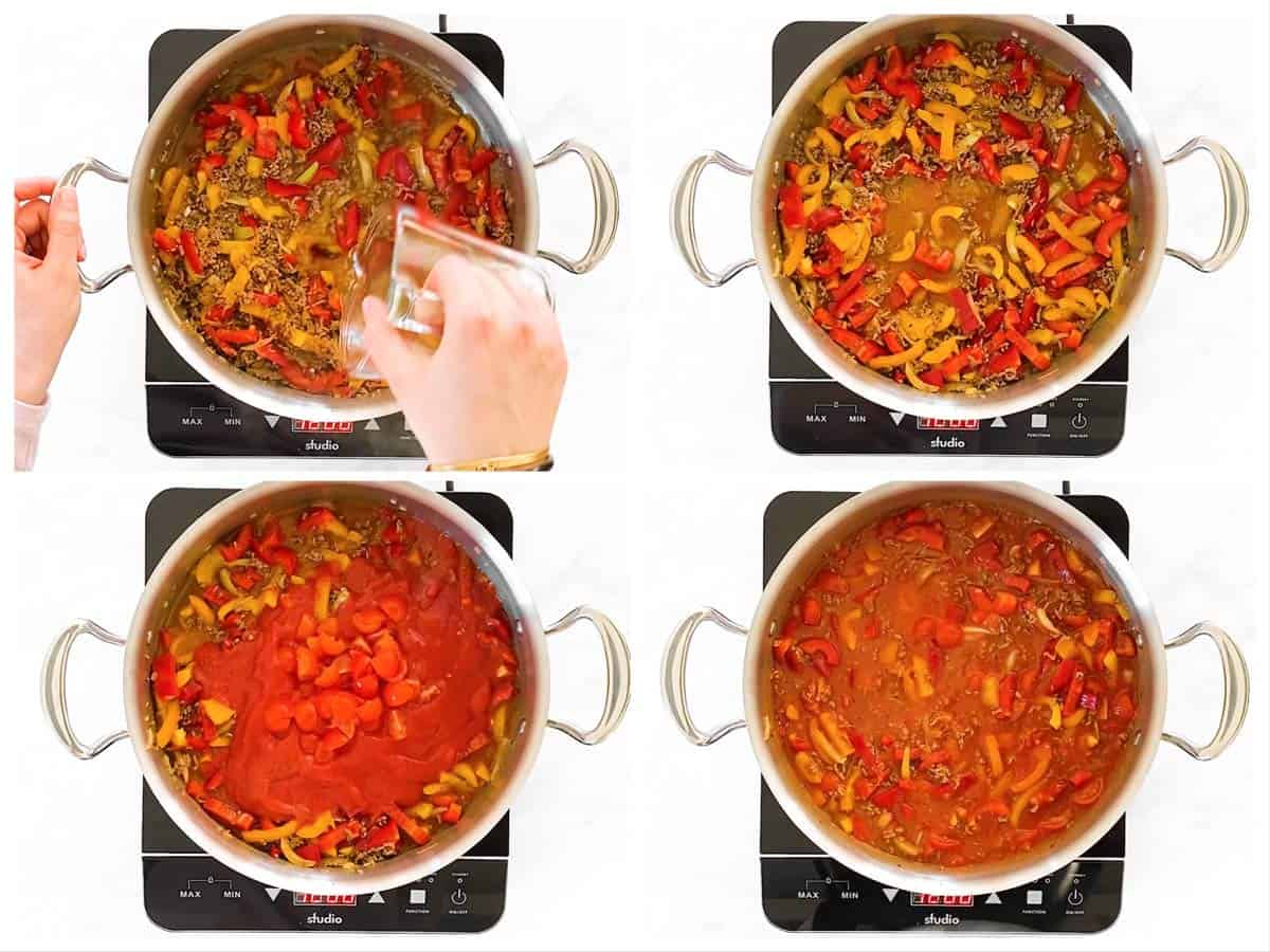 photo collage to show how to stir broth and tomato sauce into unstuffed pepper skillet