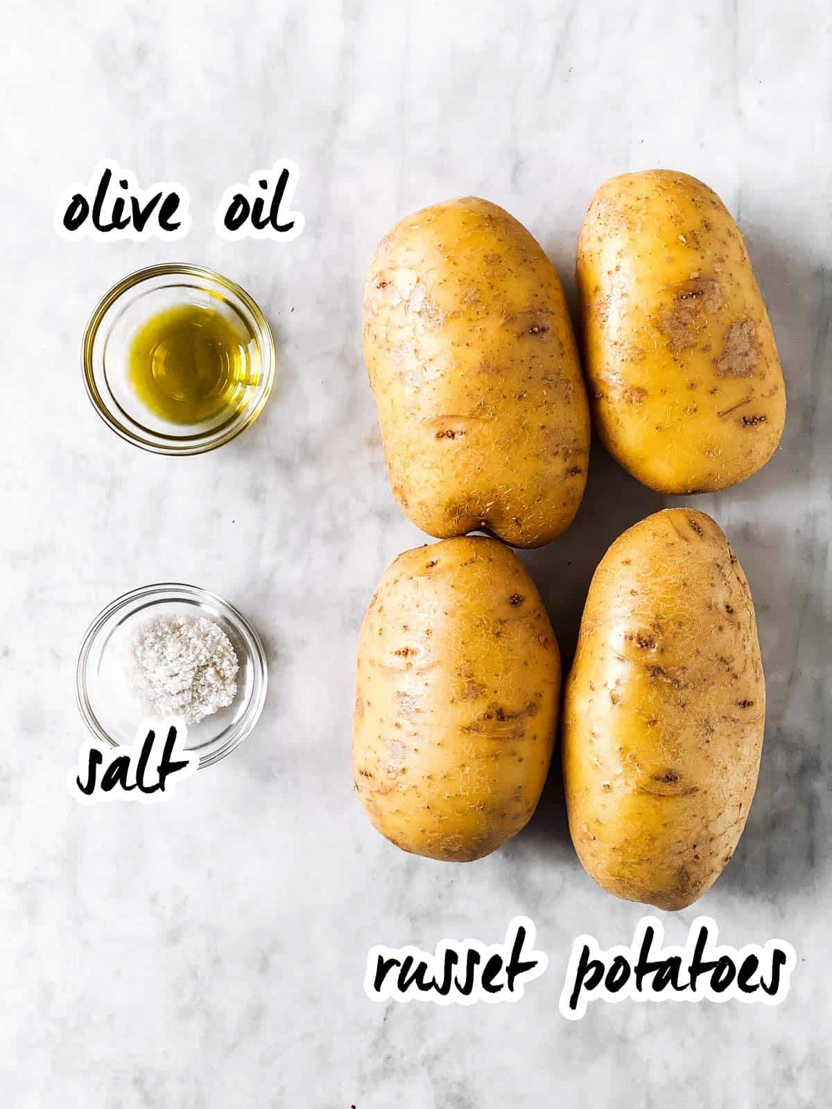 ingredients for air fryer baked potatoes with text labels