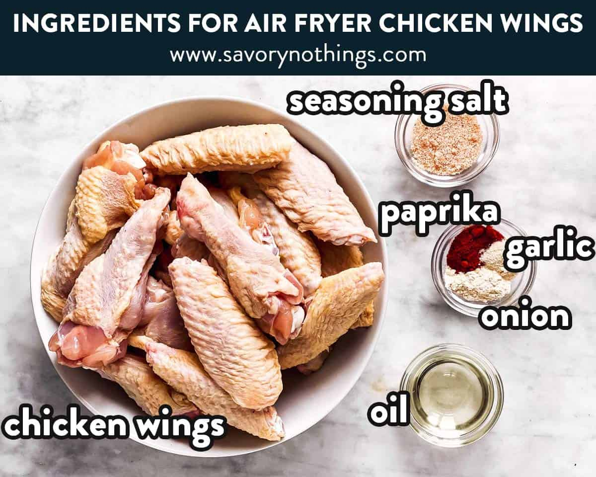 ingredients for air fryer chicken wings with text labels