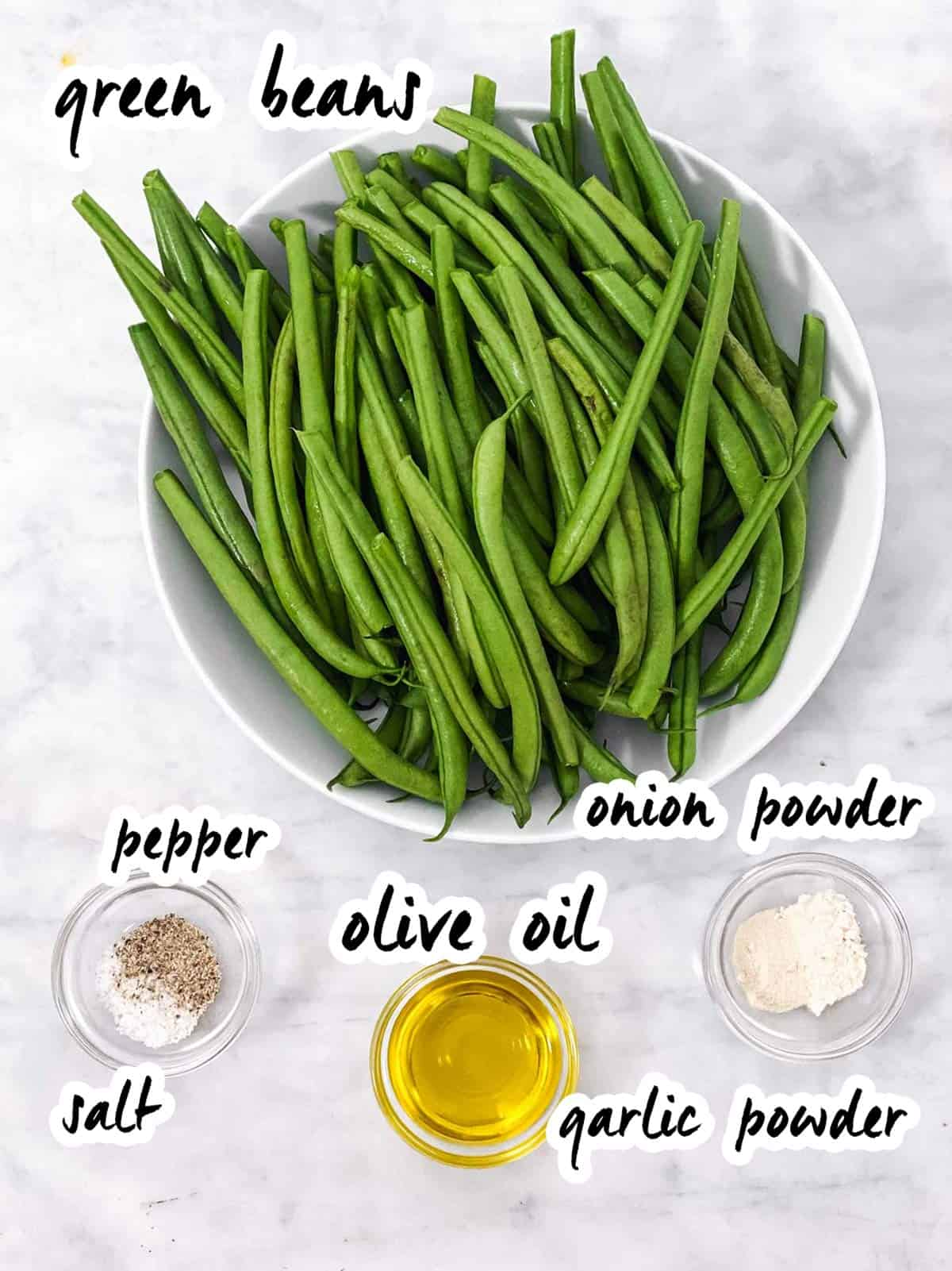 ingredients for air fried green beans with text labels