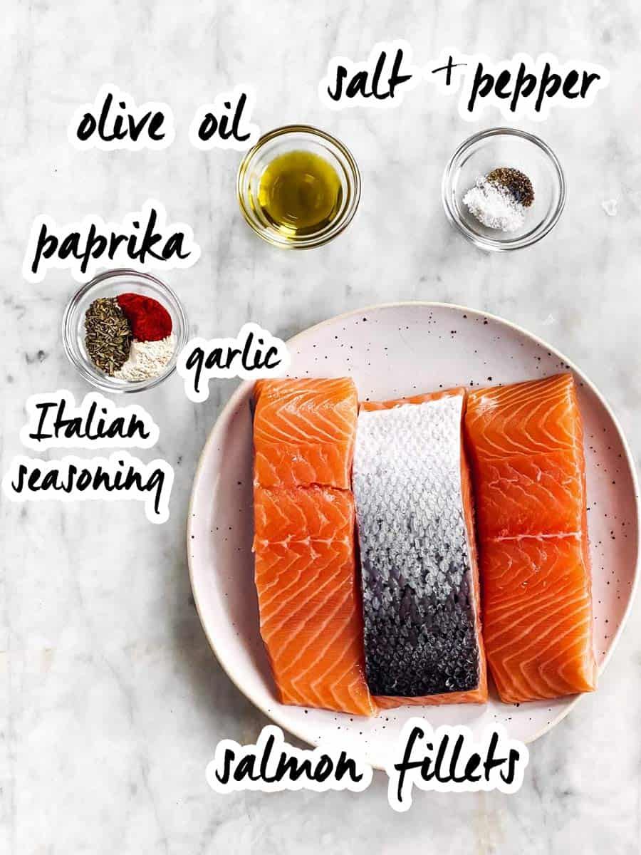 ingredients for air fryer salmon with text labels