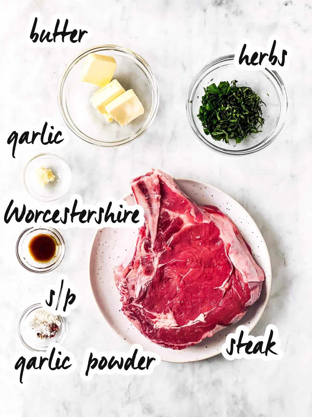 ingredients for air fryer steak with text labels