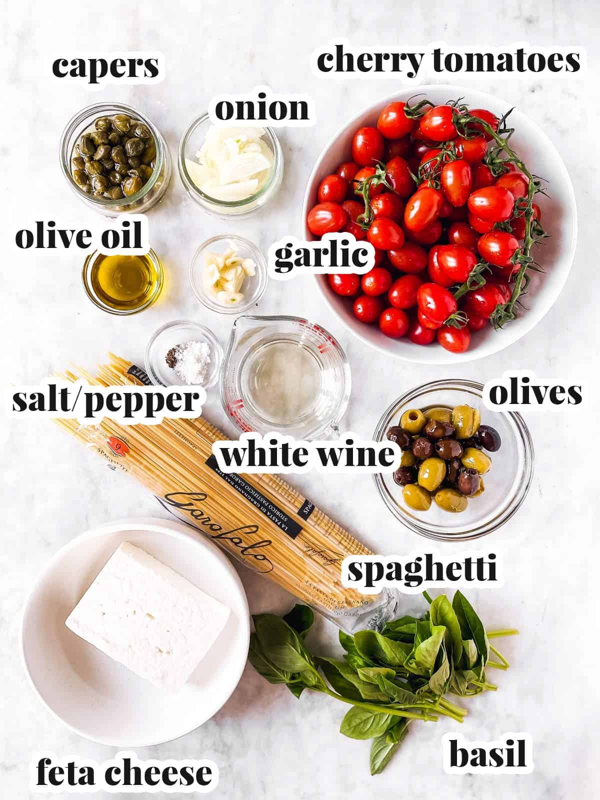 ingredients for baked Feta pasta with text labels