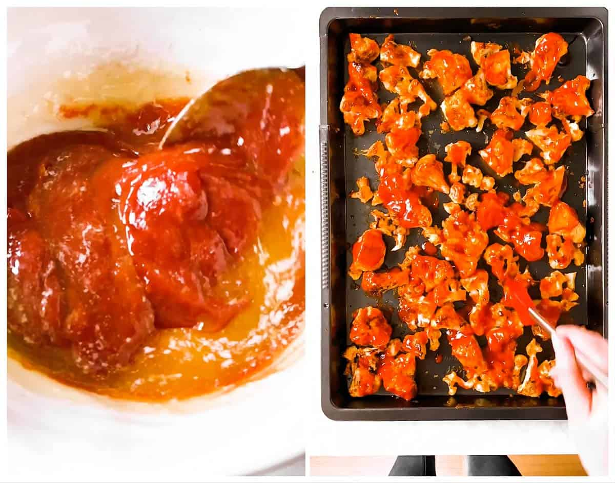 photo collage to show how to brush buffalo sauce on baked cauliflower