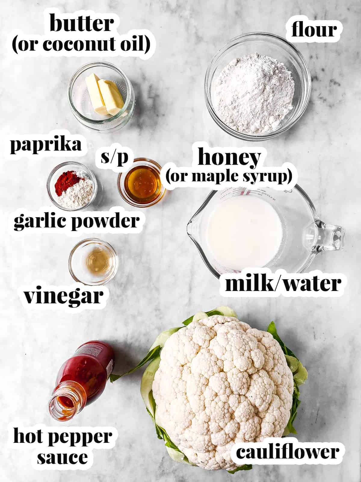 ingredients for buffalo cauliflower wings with text labels