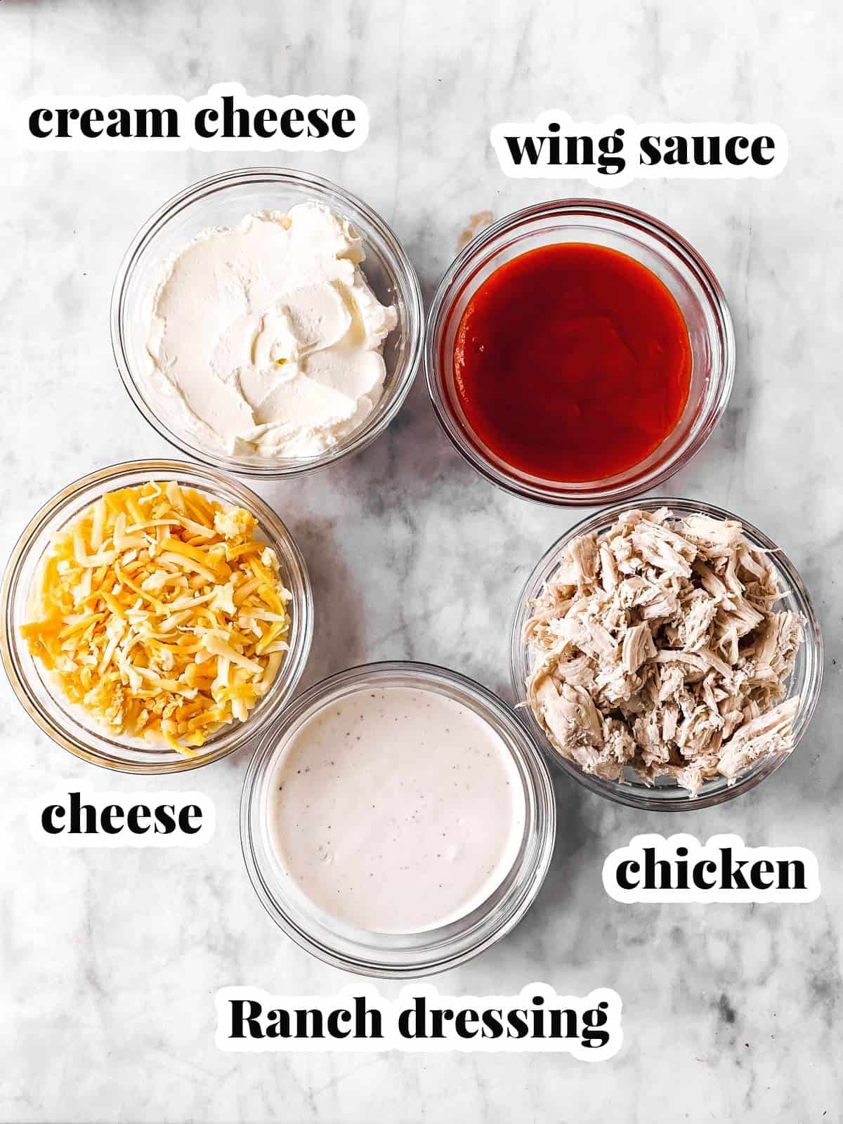 ingredients for buffalo chicken dip with text labels