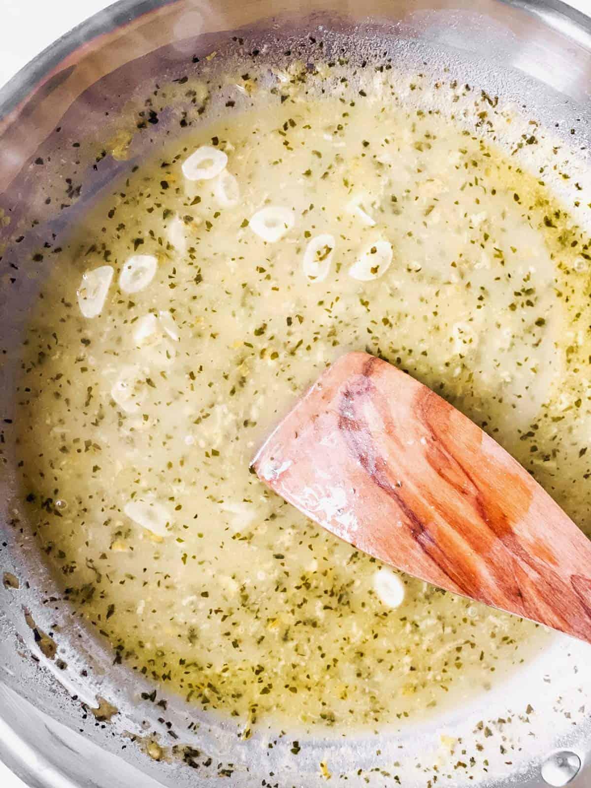pan with white wine sauce