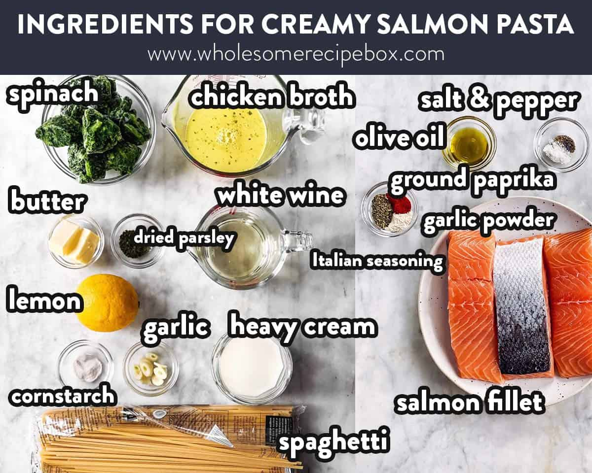 ingredients for creamy salmon pasta with text labels