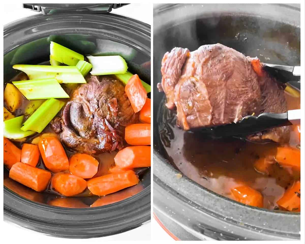 photo collage to show how to cook pot roast in the slow cooker