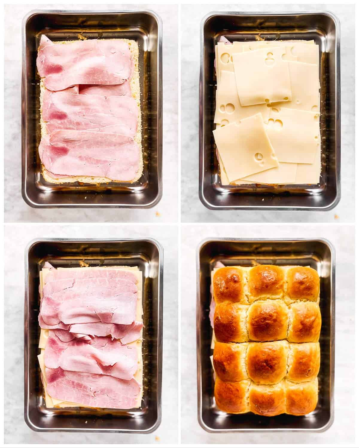 photo collage to show how to layer ham and cheese on dinner rolls