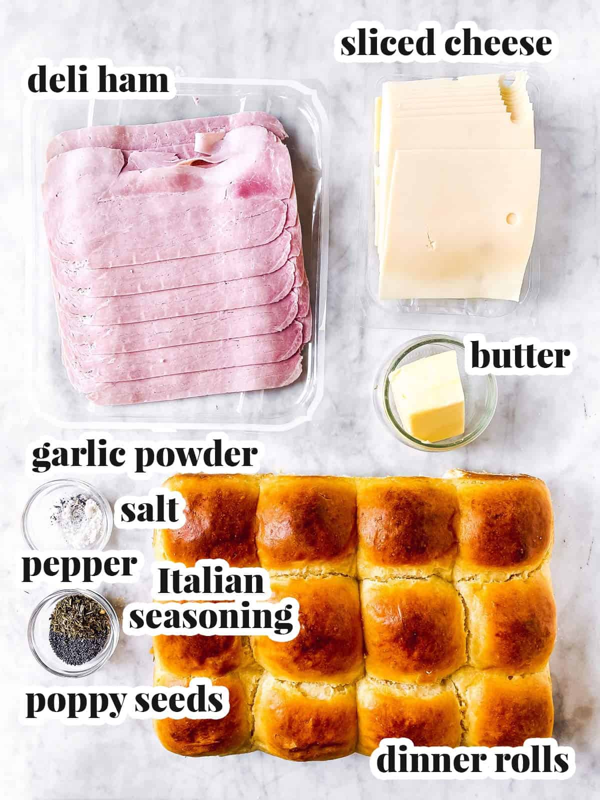 ingredients for hot ham sliders with text labels