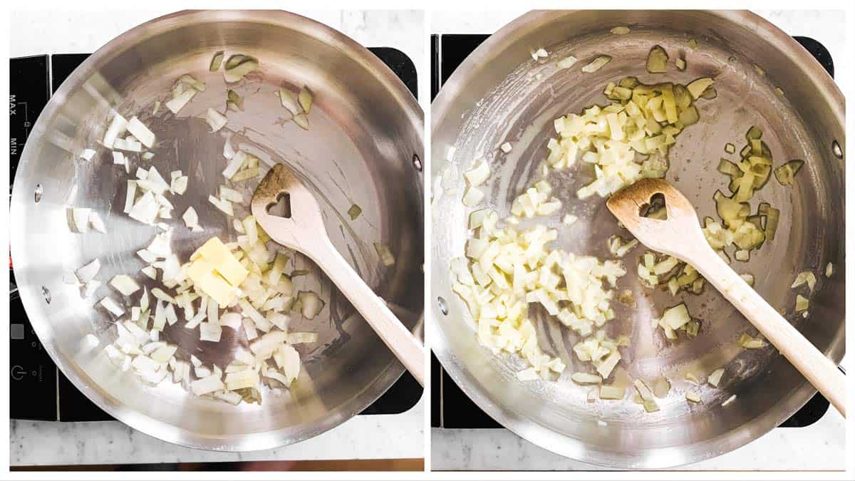photo collage to show how to sauté onion