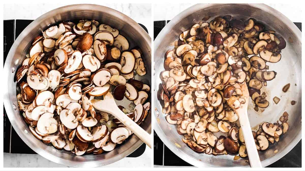 photo collage to show how to sauté mushrooms