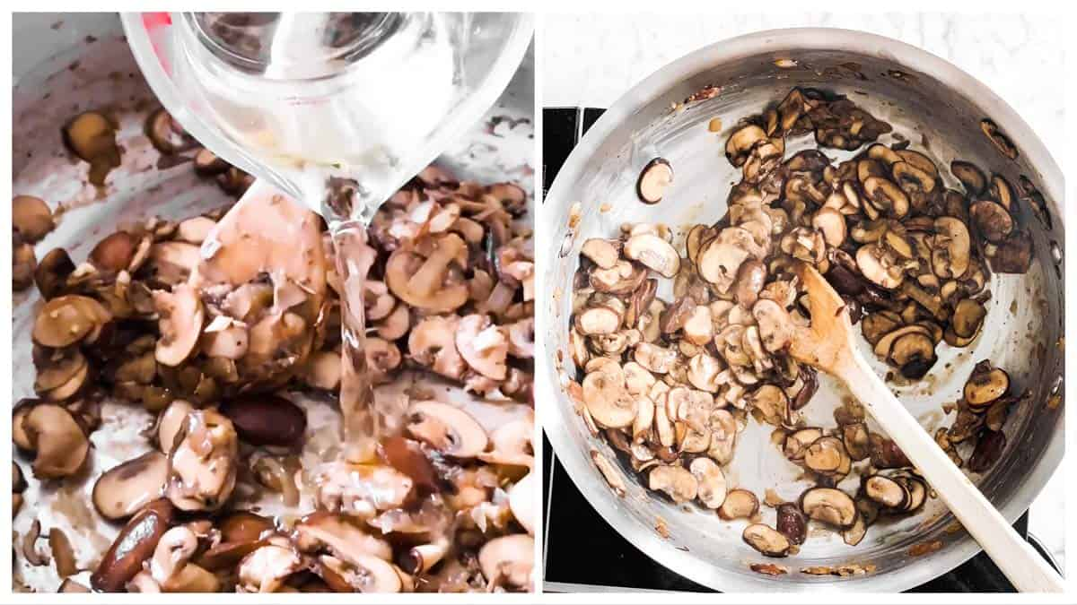 photo collage to show how to deglaze a pan with mushrooms