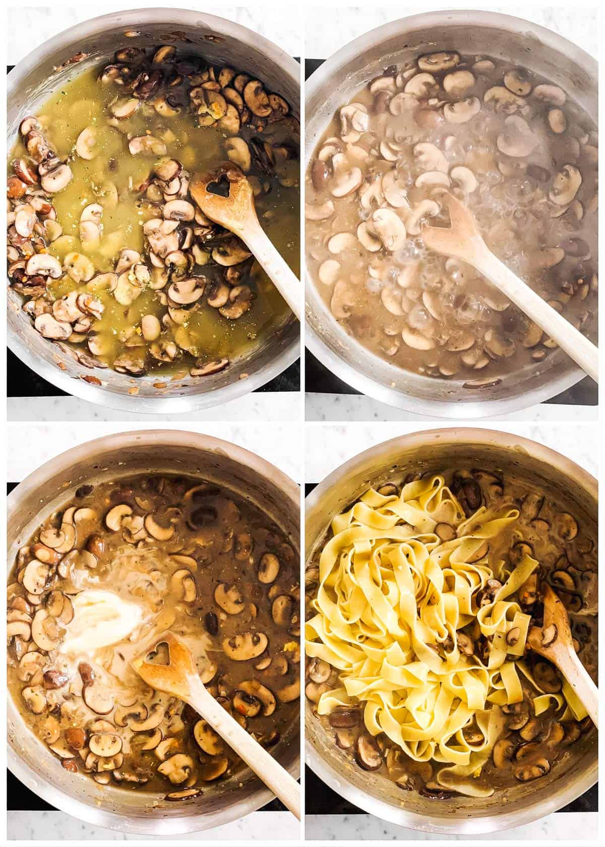 photo collage to show how to finish cooking a mushroom stroganofff