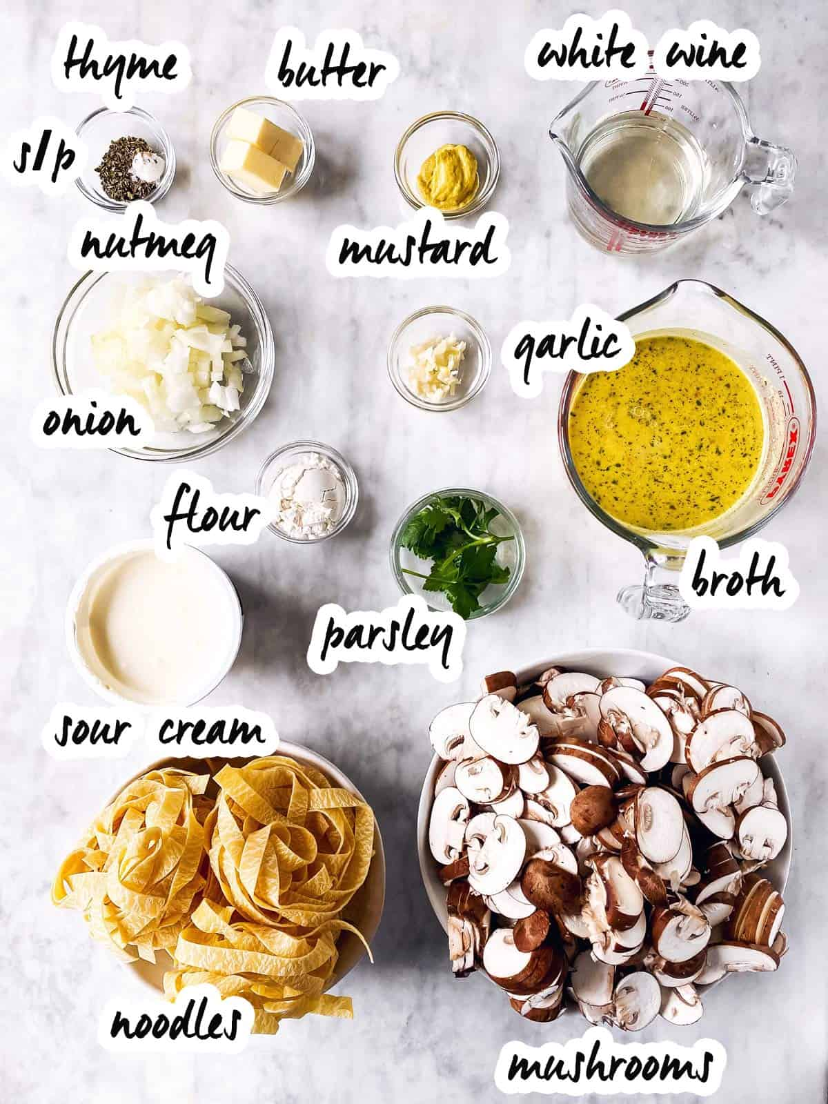 ingredients for vegetarian mushroom stroganoff with text labels