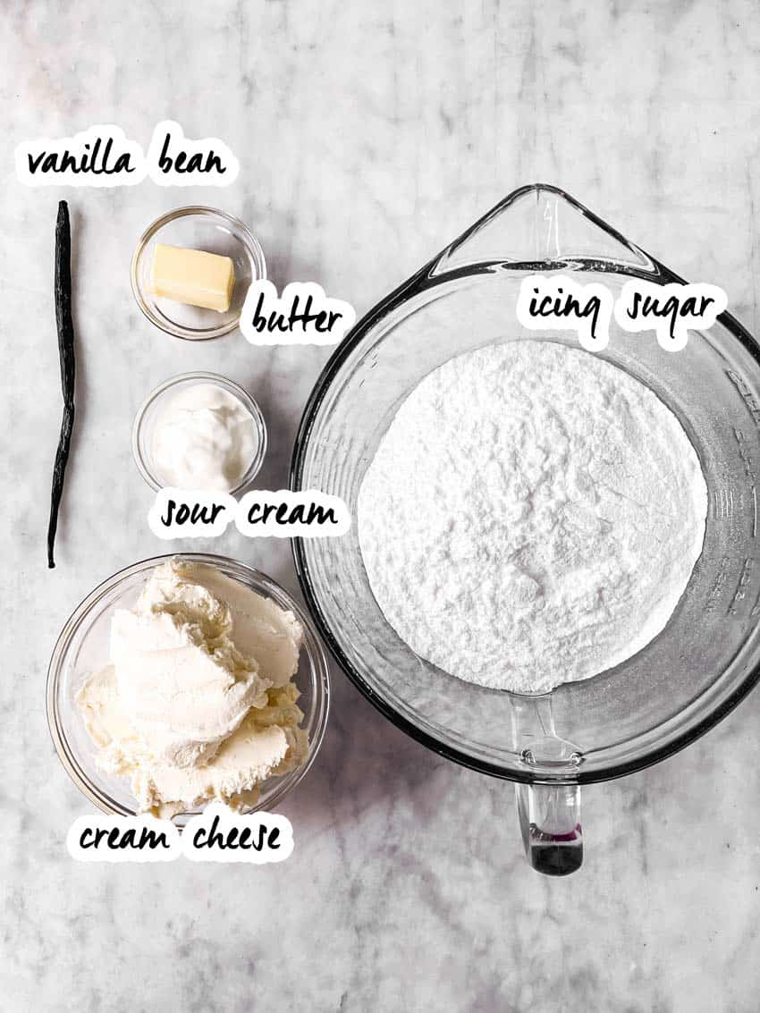 ingredients for cream cheese frosting with text labels