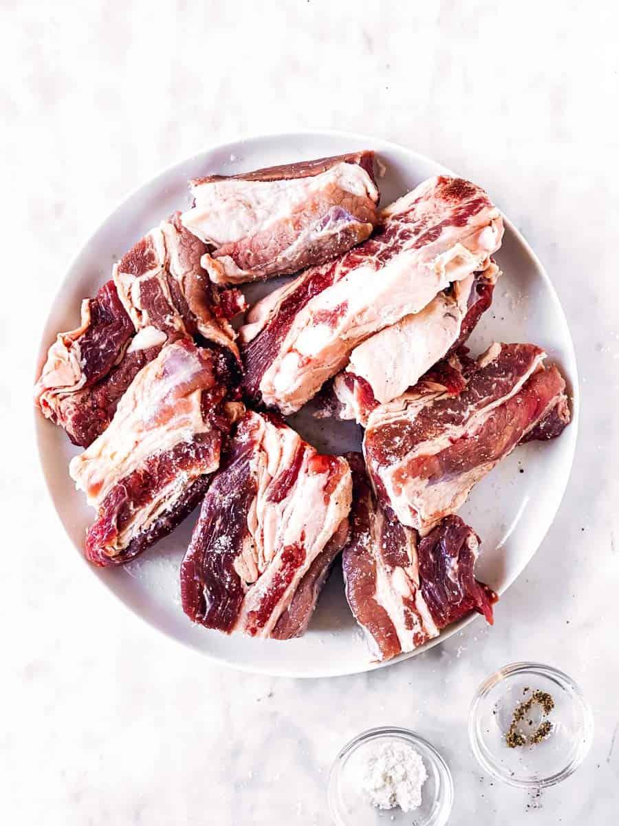 seasoned short ribs on white plate