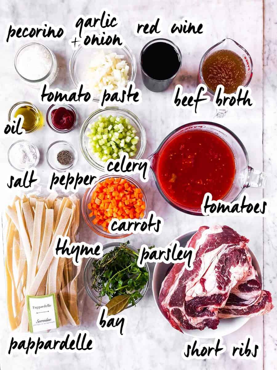 ingredient for short rib ragu with text labels