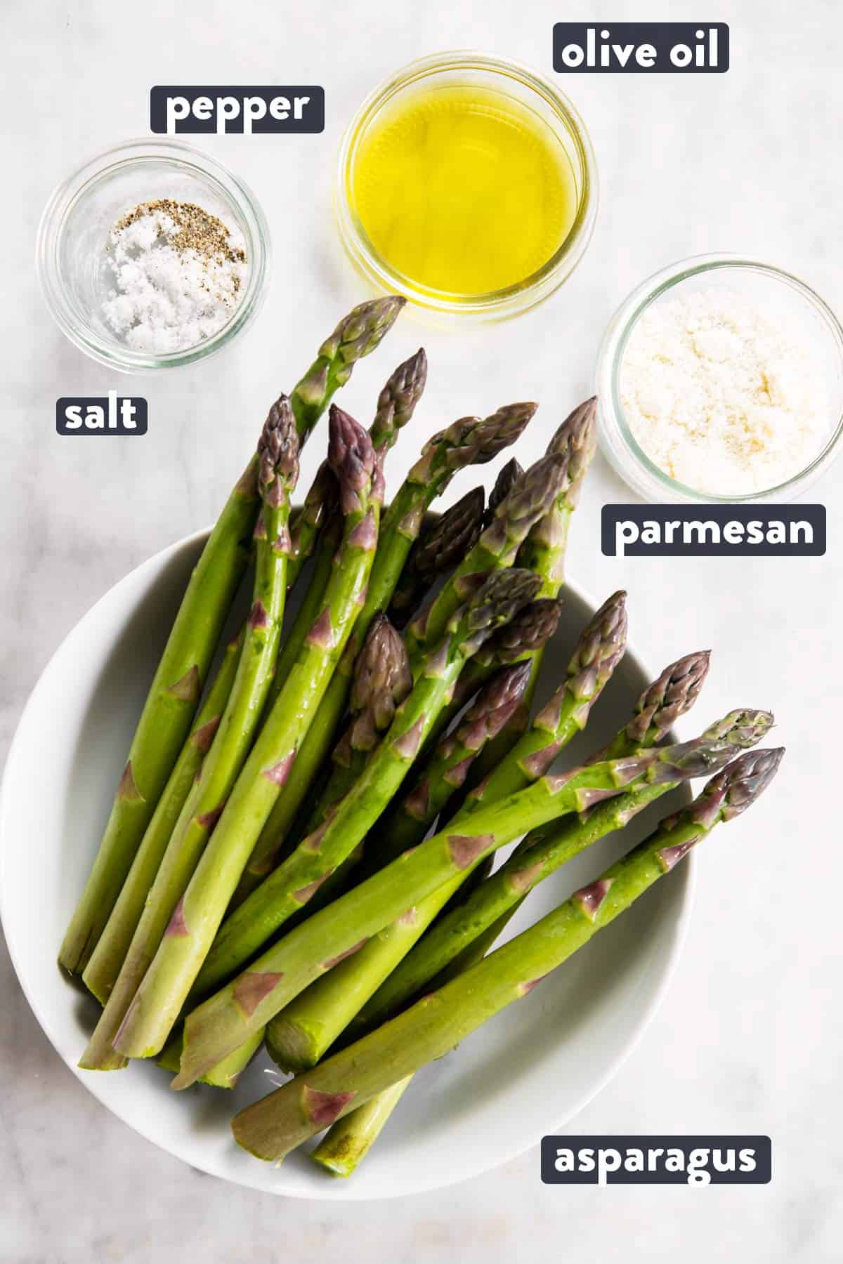 ingredients for air fryer asparagus with text labels