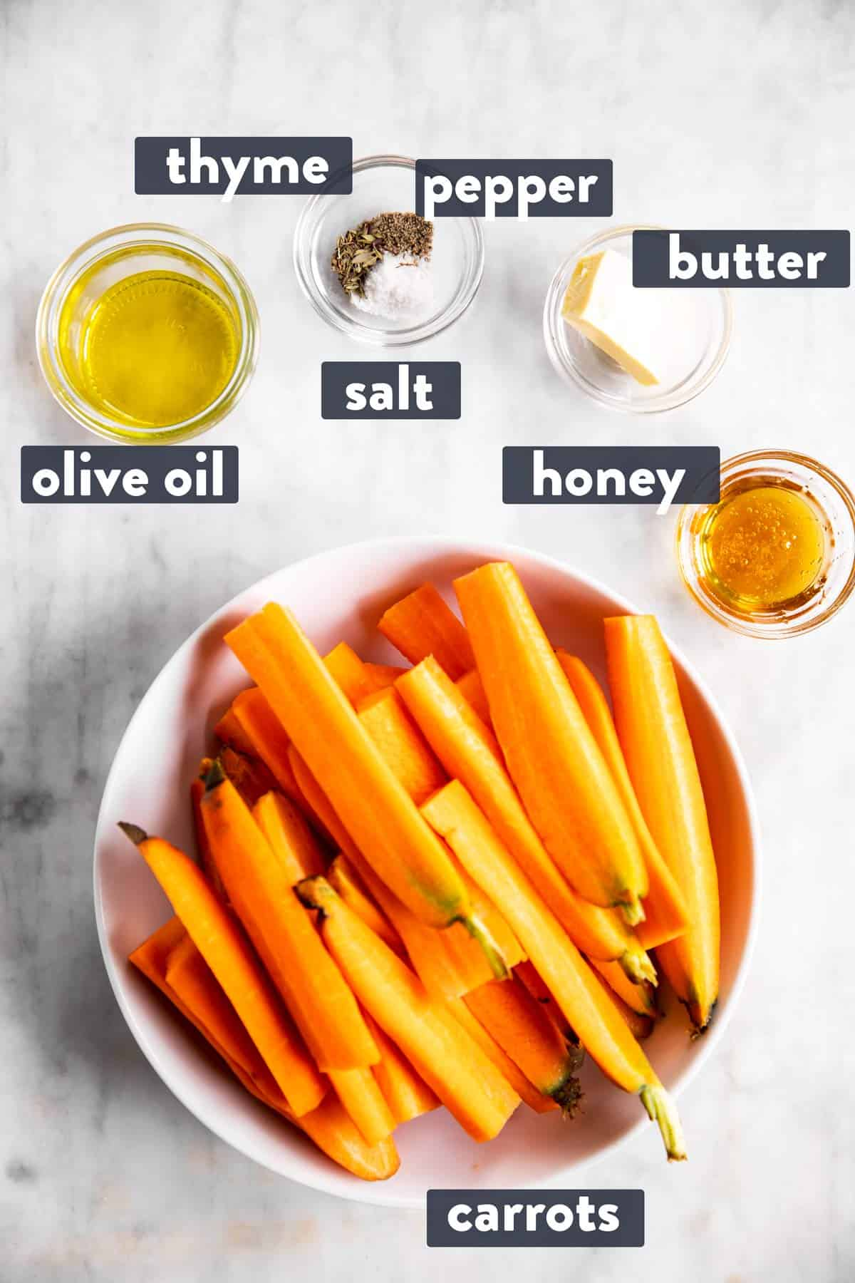 ingredients for air fryer carrots with text labels