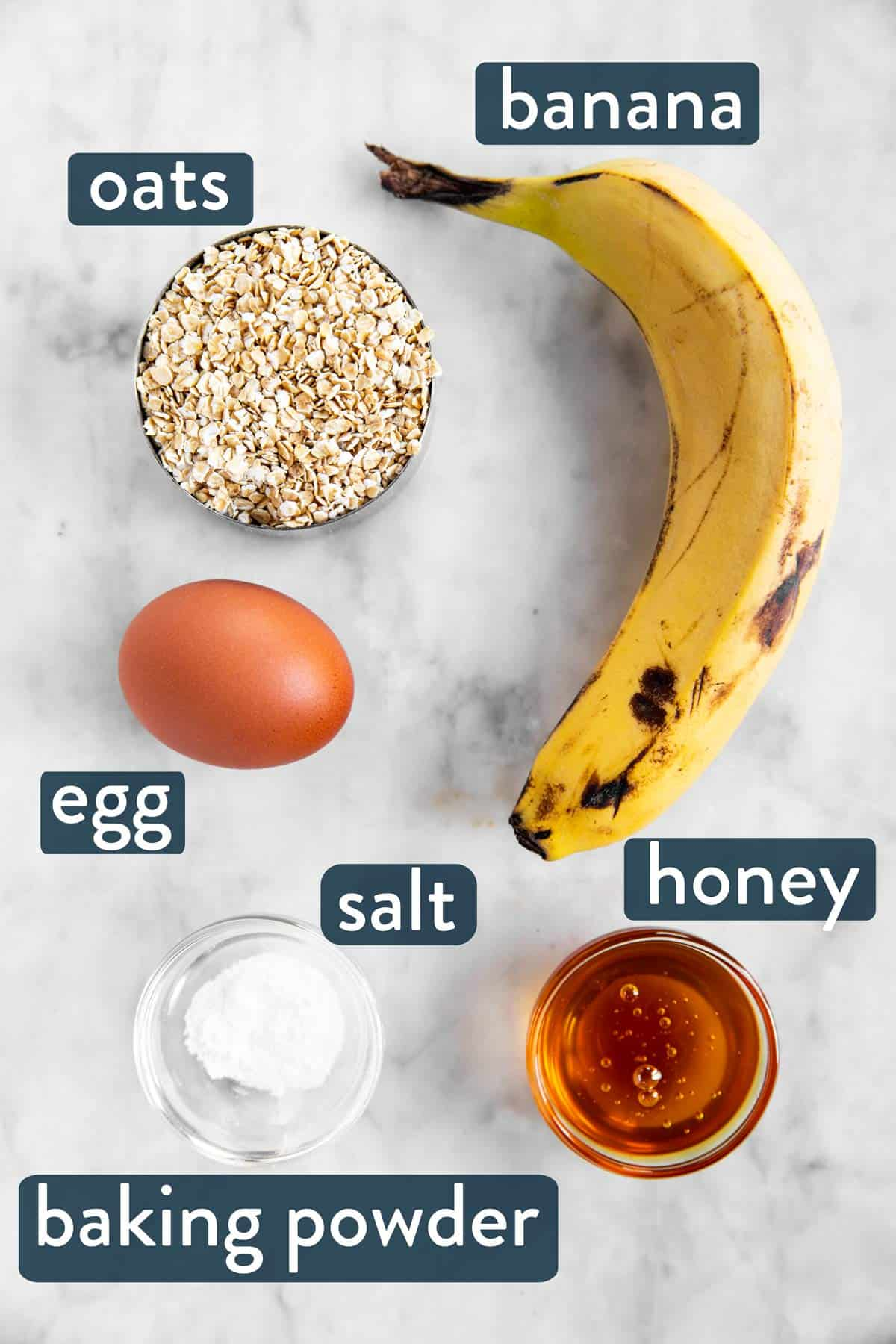 ingredients for baked oats with text labels
